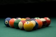 Billiard set. Image of billiard balls on the pool table Royalty Free Stock Photo