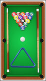 Billiard set. Billard balls, cue and billiard Stock Photo