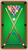 Billiard set. Billard balls, cue and billiard Royalty Free Stock Images
