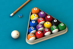 Billiard set on blue. Racked pool balls, a cue stick and a pool chalk block on a blue table (3D rendering Stock Photography