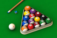 Billiard set on green. Racked pool balls, a cue stick and a pool chalk block on a green table (3D rendering vector illustration