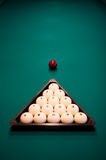 Billiard set on green table Stock Image