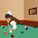 Billiard shot. Man plays Stock Photos