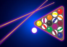 Billiard and snooker. Colorful billiard balls sign with (snooker) ball in blue Royalty Free Stock Photography