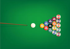 Billiard or snooker balls on green background table snooker color Royalty Free Stock Photography