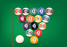 Billiard or snooker balls on green background table snooker color Stock Photography