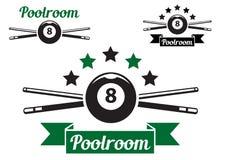 Billiard or snooker design. Billiard or snooker poolroom design for sports, leisure or club emblem Stock Image