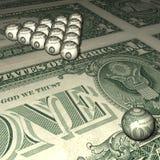 Billiard spheres on a dollar background. Stock Photos