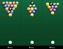 Billiard Starting Positions Eight Nine Ten Ball Stock Images