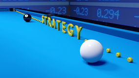 Billiard strategy business concept on blue. White and black billiard ball on blue velvet and the word strategy in yellow standing upright leading to the corner Royalty Free Stock Photos
