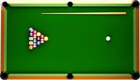 Billiard-Tabelle von der Oberseite. Lizenzfreies Stockfoto