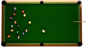 Billiard-Tabelle von der Oberseite mit Kugeln in der Bewegung. Lizenzfreies Stockfoto