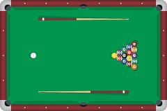 Billiard table. With sticks (cues) and all balls (8 ball game Royalty Free Stock Photography