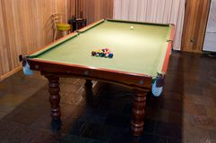 Billiard Table. A billiard table setup and ready for a game Stock Photography