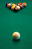 Billiard table. Spheres for game in a pool on a billiard table Stock Photos