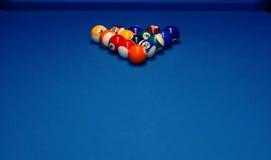 Billiard table. Blue billiard table on  club, hobby game of nightlife Stock Photography