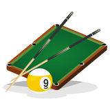 Billiard Table and Ball Vector Illustration Stock Photos
