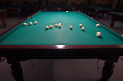 Billiard table with balls Stock Photos