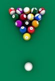 Billiard table and balls Stock Image