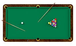 Billiard table with balls and cues Royalty Free Stock Images