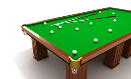 Billiard table with balls and cues Stock Image