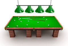 Billiard table with balls and cues Stock Photo