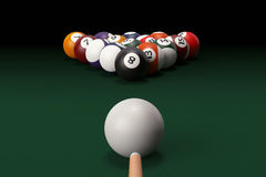 Billiard table with balls set and cue Royalty Free Stock Photo