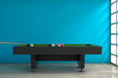 Billiard Table with Balls Set and Cue. 3d Rendering Stock Photography