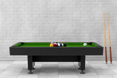 Billiard Table with Balls Set and Cue. 3d Rendering. Billiard Table with Balls Set and Cue in front of brick wall. 3d Rendering Stock Photography