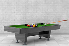 Billiard Table with Balls Set and Cue. 3d Rendering. Billiard Table with Balls Set and Cue in front of brick wall. 3d Rendering Royalty Free Stock Images