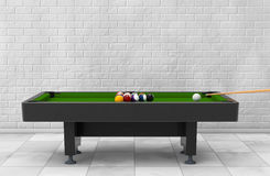 Billiard Table with Balls Set and Cue. 3d Rendering. Billiard Table with Balls Set and Cue in front of brick wall. 3d Rendering Royalty Free Stock Photo
