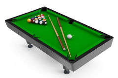 Billiard table with balls set and cues Stock Photos
