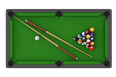 Billiard table with balls set and cues Stock Photo