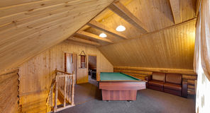 Billiard table in the big room Royalty Free Stock Photos