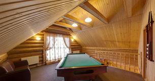 Billiard table in the big room Royalty Free Stock Images