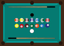 Billiard table, billiard balls, two cue Stock Photography