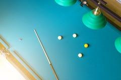 Billiard table close up. Playing billiard. Billiards balls and cue on green billiards table. Billiard sport concept. Pool billiard. Game. Home interior stock photos