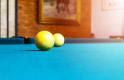 Billiard table close up. Playing billiard. Billiards balls and cue on green billiards table. Billiard sport concept. Pool billiard. Game stock photos
