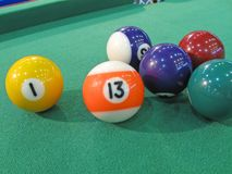 Billiard-table with colorful balls Royalty Free Stock Photos