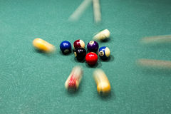 Billiard table with colorful balls. Beginning of game, break;  action and arrangement backdrop background ball balls bar beginning billards billiard blur close Stock Photo