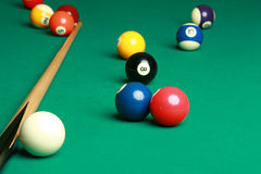 Billiard table with a couple of balls Stock Photography