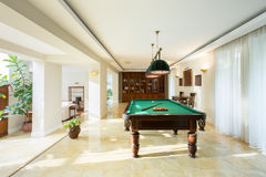Billiard table in drawing room Royalty Free Stock Photography
