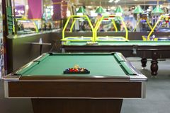 Billiard table in the entertainment center. The billiard table in the entertainment center Stock Photo
