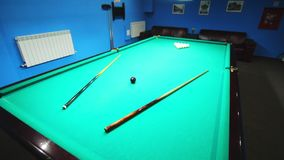 Billiard table before game. Pool table balls. Pool game room stock footage