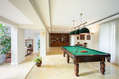 Billiard table in living room Royalty Free Stock Image