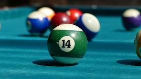 Billiard table with multi-colored balls 002. Green billiard table with multi-colored balls Royalty Free Stock Photography