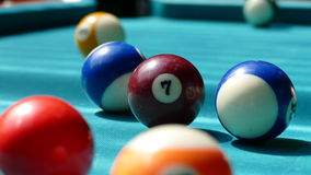 Billiard table with multi-colored balls 004 royalty free stock image