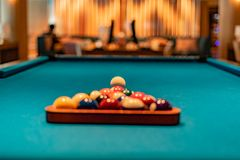 Billiard table ready to gamble royalty free stock image