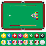 Billiard Table Set. With balls and cue sticks, isolated on white background. Eps file available Royalty Free Stock Image