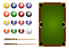 Billiard Table Set. This Illustration contained Pool table, balls and cue Stock Images